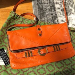 orYANY Rocker Flap Orange Leather Cross Body Bag